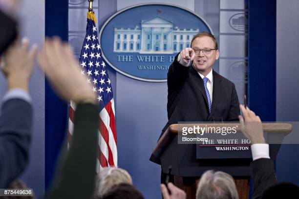 Kevin Hassett chairman of the Council of Economic Advisors takes a question during a White House press briefing in Washington DC US on Friday Nov 17...