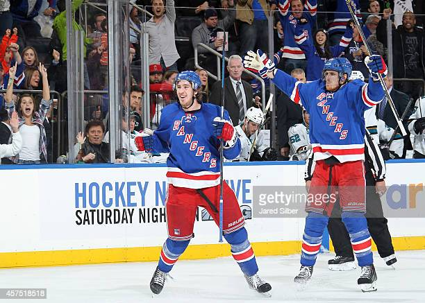 Kevin Hayes and Marc Staal of the New York Rangers celebrate after a third period goal against the San Jose Sharks at Madison Square Garden on...