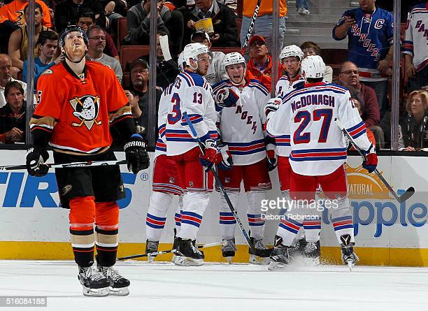Kevin Hayes Kevin Klein JT Miller Eric Staal and Ryan McDonagh of the New York Rangers celebrate Klein's third period goal as Korbinian Holzer of the...