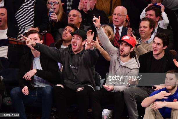 Kevin Hayes Mats Zuccarello and Brady Skjei attend the New York Knicks Vs Chicago Bulls game at Madison Square Garden on January 10 2018 in New York...