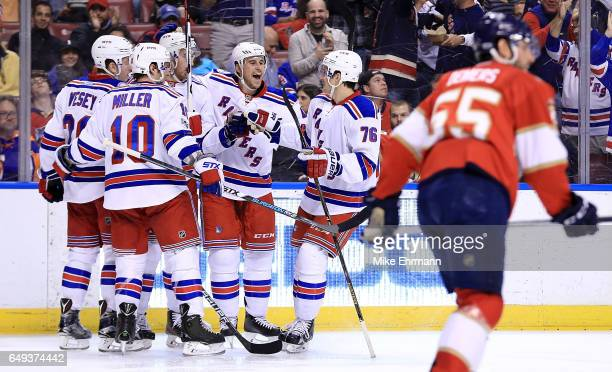 Kevin Hayes of the New York Rangers celebrates a goal during a game against the Florida Panthers at BBT Center on March 7 2017 in Sunrise Florida