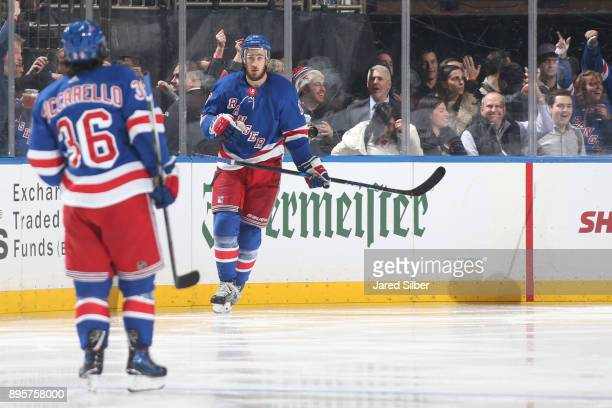 Kevin Hayes of the New York Rangers celebrates his second period goal with Mats Zuccarello during the game against the Anaheim Ducks at Madison...