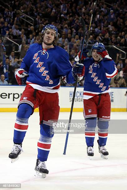 Kevin Hayes of the New York Rangers celebrates scoring a goal in the second period against Craig Anderson of the Ottawa Senators during their game at...