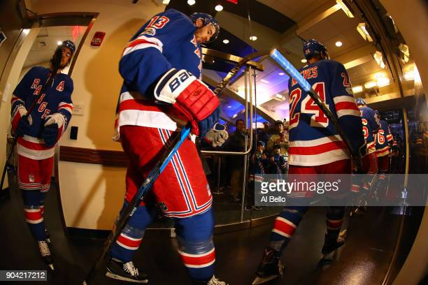 Kevin Hayes of the New York Rangers leaves the dressing roon onto the ice against the New Jersey Devils at Madison Square Garden on December 9 2017...