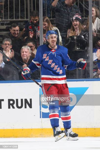 Kevin Hayes of the New York Rangers reacts after scoring a goal in the second period against the New York Islanders at Madison Square Garden on...