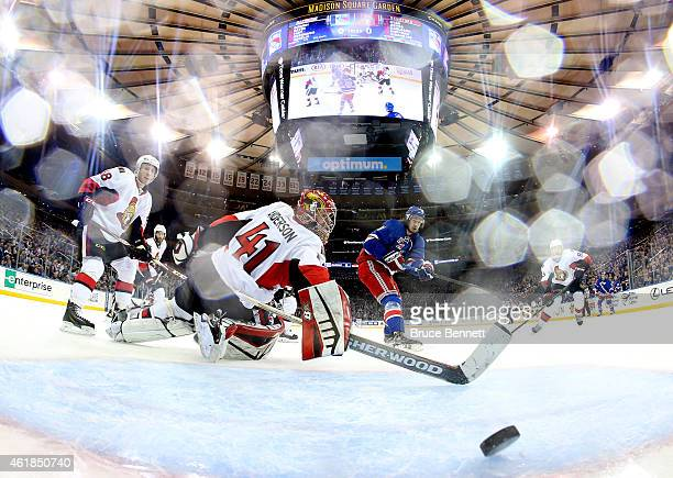 Kevin Hayes of the New York Rangers scores a goal in the second period against Craig Anderson of the Ottawa Senators during their game at Madison...