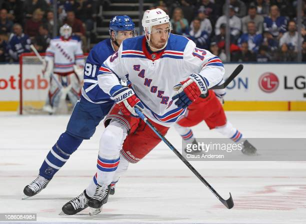 Kevin Hayes of the New York Rangers skates against the Toronto Maple Leafs during an NHL game at Scotiabank Arena on December 22 2018 in Toronto...