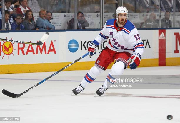 Kevin Hayes of the New York Rangers skates against the Toronto Maple Leafs in an NHL game at the Air Canada Centre on October 7 2017 in Toronto...