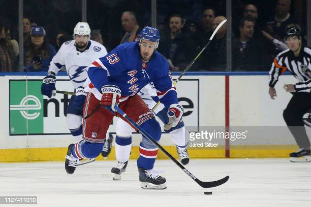 Kevin Hayes of the New York Rangers skates with the puck against the Tampa Bay Lightning at Madison Square Garden on February 2, 2019 in New York...