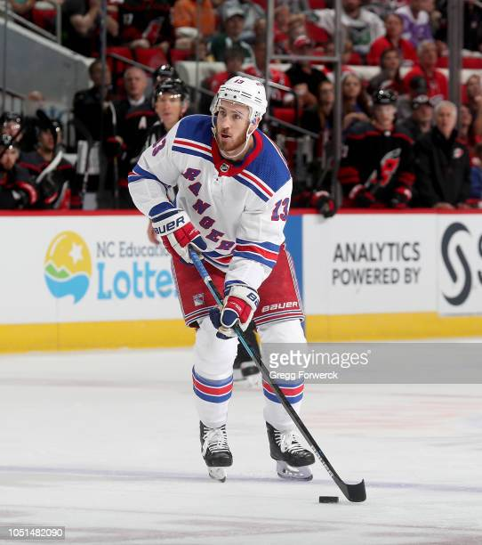 Kevin Hayes of the New York Rangers skates with the puck during an NHL game against the Carolina Hurricanes on October 7 2018 at PNC Arena in Raleigh...