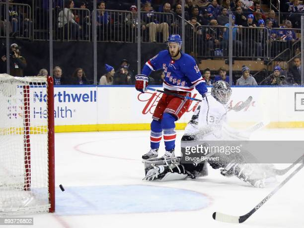 Kevin Hayes of the New York Rangers watches his shot go past Jonathan Quick of the Los Angeles Kings at 1443 of the second period at Madison Square...