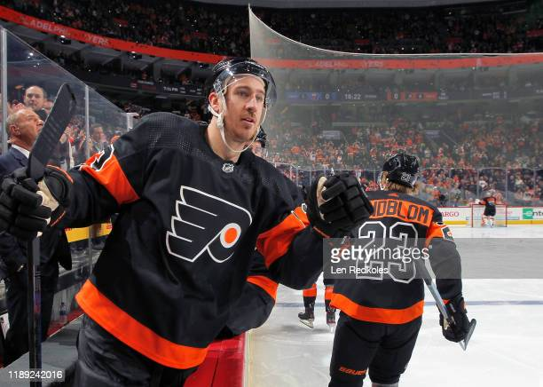 Kevin Hayes of the Philadelphia Flyers celebrates a first period goal with teammates against the New York Islanders on November 16, 2019 at the Wells...