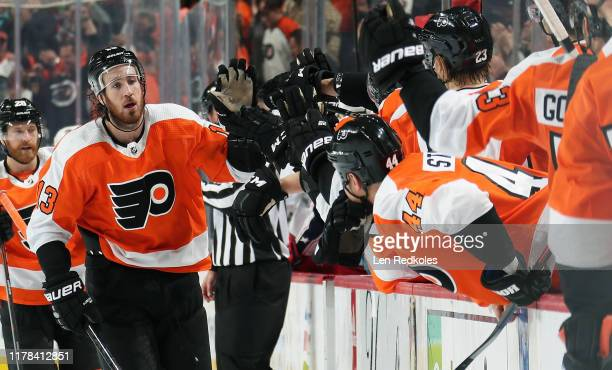 Kevin Hayes of the Philadelphia Flyers celebrates his game-winning shorthanded goal against the Columbus Blue Jackets in the third period with his...