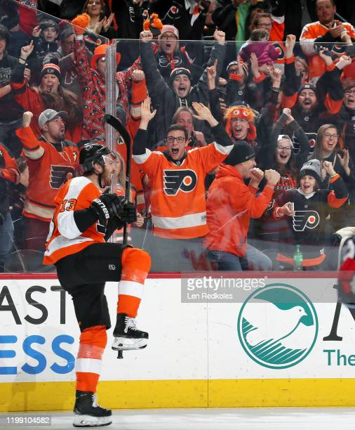 Kevin Hayes of the Philadelphia Flyers celebrates his second period shorthanded goal against the Washington Capitals on January 8, 2020 at the Wells...