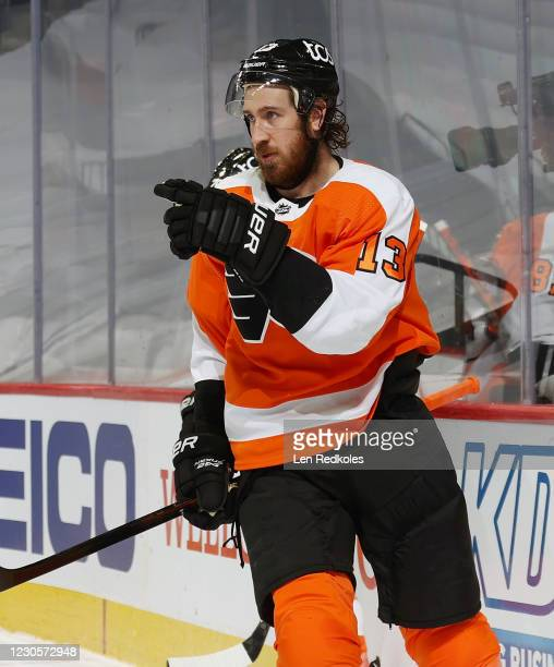 Kevin Hayes of the Philadelphia Flyers gestures towards his teammates after scoring a third period goal against the Pittsburgh Penguins on January...
