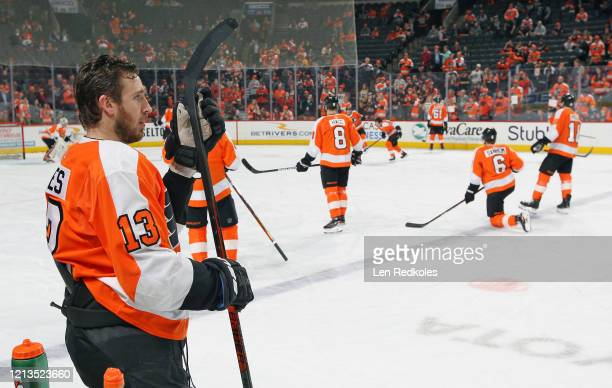 Kevin Hayes of the Philadelphia Flyers looks on during warmups against the Boston Bruins on March 10 2020 at the Wells Fargo Center in Philadelphia...