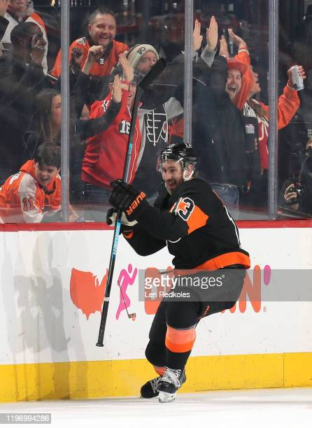 Kevin Hayes of the Philadelphia Flyers reacts after scoring a third period goal against the New York Rangers on December 23, 2019 at the Wells Fargo...