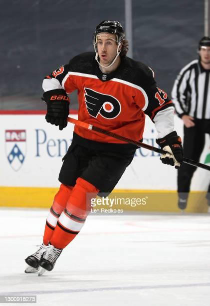 Kevin Hayes of the Philadelphia Flyers skates against the Boston Bruins at the Wells Fargo Center on February 3, 2021 in Philadelphia, Pennsylvania.