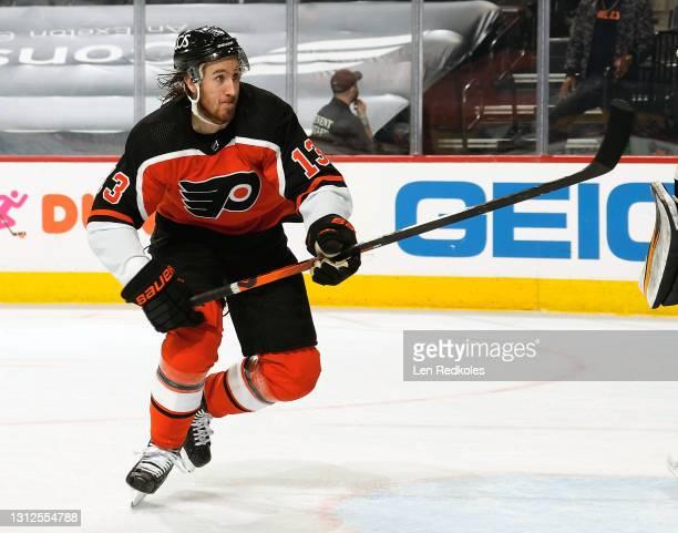 Kevin Hayes of the Philadelphia Flyers skates against the Boston Bruins at the Wells Fargo Center on April 10, 2021 in Philadelphia, Pennsylvania.
