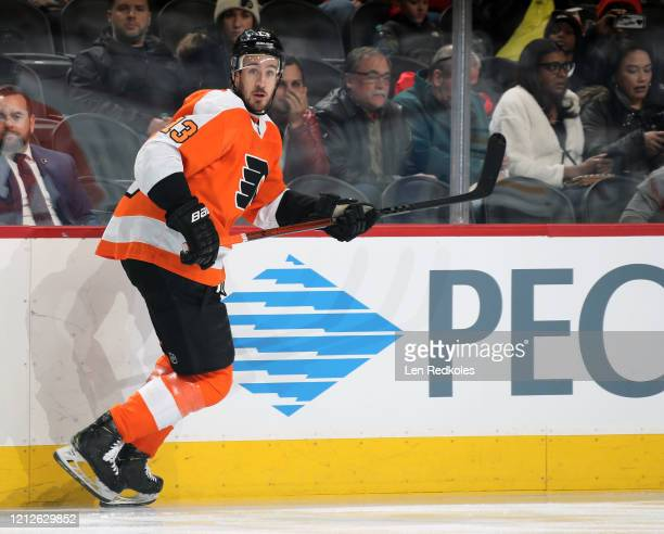 Kevin Hayes of the Philadelphia Flyers skates against the Buffalo Sabres on March 7, 2020 at the Wells Fargo Center in Philadelphia, Pennsylvania.