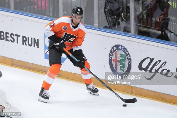Kevin Hayes of the Philadelphia Flyers skates against the Chicago Blackhawks during the Global Series Challenge game at O2 Arena on October 4, 2019...