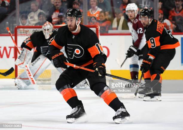 Kevin Hayes of the Philadelphia Flyers skates against the Colorado Avalanche on February 1, 2020 at the Wells Fargo Center in Philadelphia,...