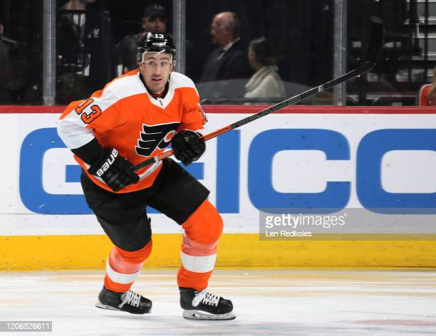 Kevin Hayes of the Philadelphia Flyers skates against the Florida Panthers on February 10, 2020 at the Wells Fargo Center in Philadelphia,...