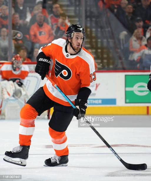 Kevin Hayes of the Philadelphia Flyers skates against the New Jersey Devils on October 9, 2019 at the Wells Fargo Center in Philadelphia,...