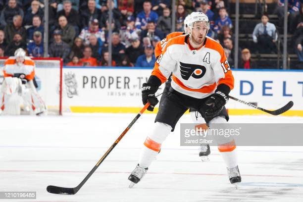 Kevin Hayes of the Philadelphia Flyers skates against the New York Rangers at Madison Square Garden on March 1, 2020 in New York City.
