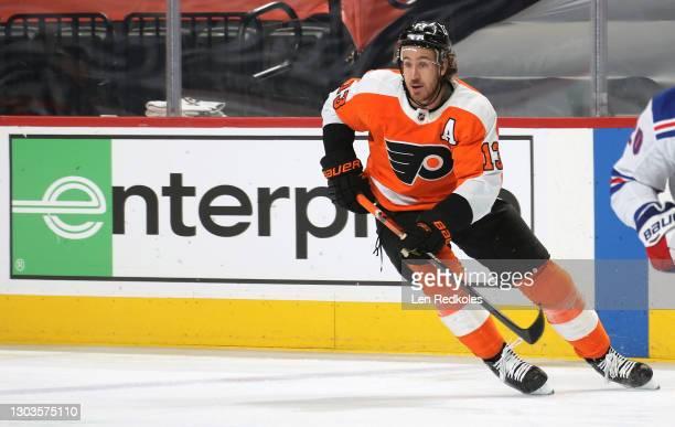 Kevin Hayes of the Philadelphia Flyers skates against the New York Rangers at the Wells Fargo Center on February 18, 2021 in Philadelphia,...