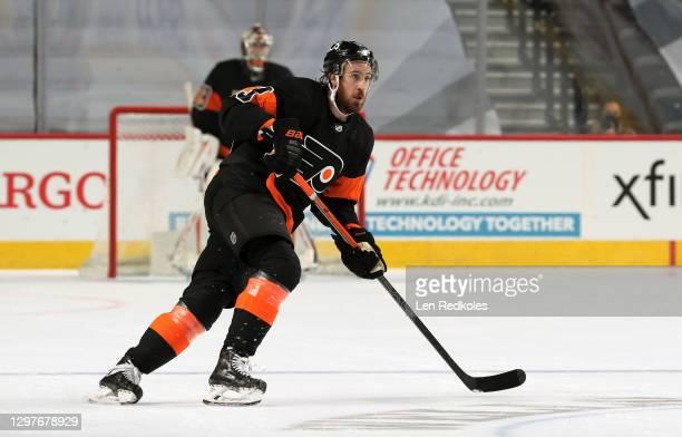 Kevin Hayes of the Philadelphia Flyers skates against the Pittsburgh Penguins on January 15, 2021 at the Wells Fargo Center in Philadelphia,...