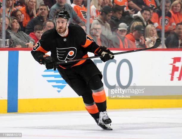 Kevin Hayes of the Philadelphia Flyers skates against the Tampa Bay Lightning on January 11, 2020 at the Wells Fargo Center in Philadelphia,...
