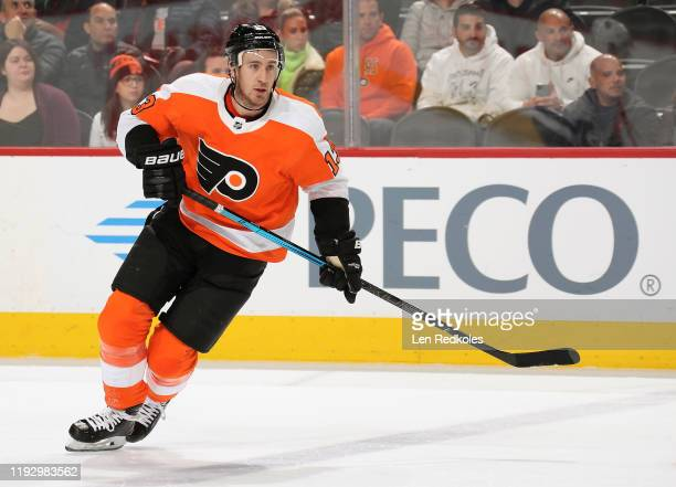 Kevin Hayes of the Philadelphia Flyers skates against the Toronto Maple Leafs on December 3, 2019 at the Wells Fargo Center in Philadelphia,...