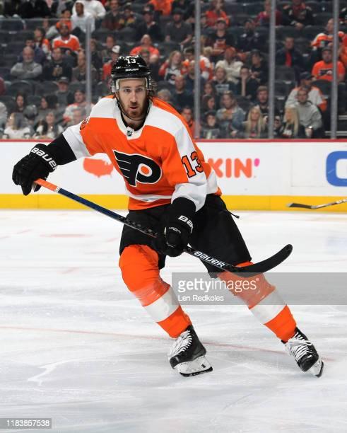 Kevin Hayes of the Philadelphia Flyers skates against the Vegas Golden Knights on October 21, 2019 at the Wells Fargo Center in Philadelphia,...