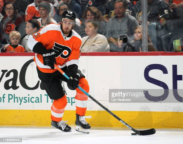 Kevin Hayes of the Philadelphia Flyers skates the puck against the Vegas Golden Knights on October 21, 2019 at the Wells Fargo Center in...