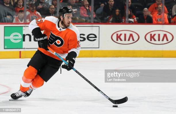 Kevin Hayes of the Philadelphia Flyers skates the puck against the Columbus Blue Jackets on October 26, 2019 at the Wells Fargo Center in...