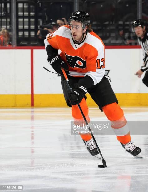 Kevin Hayes of the Philadelphia Flyers skates the puck against the Carolina Hurricanes on November 5, 2019 at the Wells Fargo Center in Philadelphia,...