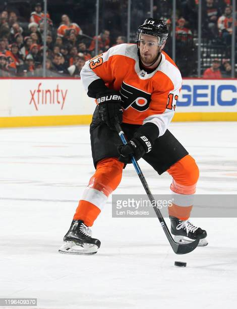 Kevin Hayes of the Philadelphia Flyers skates the puck against the Buffalo Sabres on December 19, 2019 at the Wells Fargo Center in Philadelphia,...