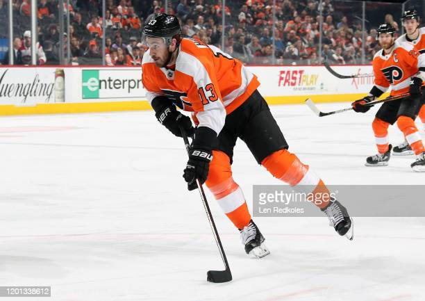 Kevin Hayes of the Philadelphia Flyers skates the puck against the Montreal Canadiens on January 16, 2020 at the Wells Fargo Center in Philadelphia,...