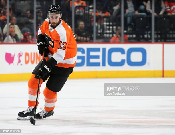 Kevin Hayes of the Philadelphia Flyers skates the puck against the New Jersey Devils on February 6, 2020 at the Wells Fargo Center in Philadelphia,...