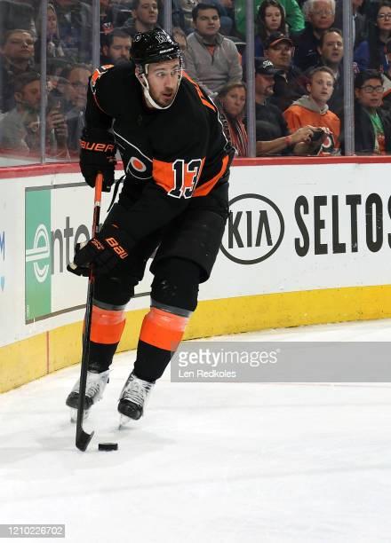 Kevin Hayes of the Philadelphia Flyers skates the puck against the New York Rangers on February 28, 2020 at the Wells Fargo Center in Philadelphia,...