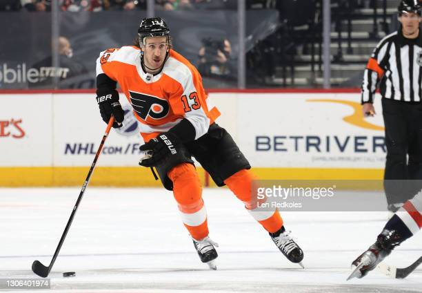 Kevin Hayes of the Philadelphia Flyers skates the puck against the Washington Capitals at the Wells Fargo Center on March 7, 2021 in Philadelphia,...