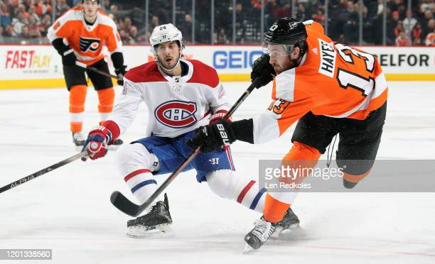Kevin Hayes of the Philadelphia Flyers takes a shot on goal against Phillip Danault of the Montreal Canadiens on January 16, 2020 at the Wells Fargo...