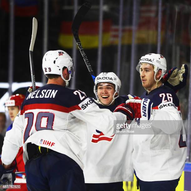 Kevin Hayes of the USA is congratulated after scoring a goal during the Russia v USA 2017 IIHF Ice Hockey World Championship match at Lanxess Arena...