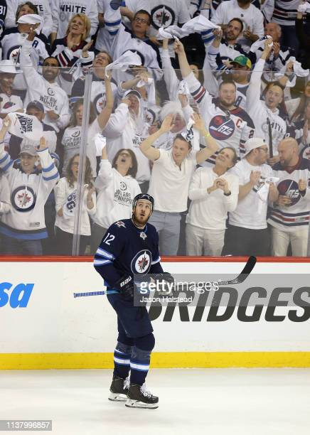 Kevin Hayes of the Winnipeg Jets celebrates his goal against the St Louis Blues in Game Five of the Western Conference First Round during the 2019...