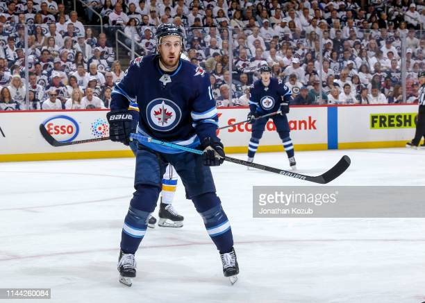 Kevin Hayes of the Winnipeg Jets keeps an eye on the play during second period action against the St Louis Blues in Game Five of the Western...