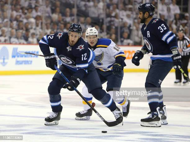 Kevin Hayes of the Winnipeg Jets looks to shoot against the St Louis Blues in Game One of the Western Conference First Round during the 2019 NHL...