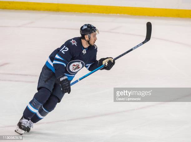 Kevin Hayes of The Winnipeg Jets skates against the Boston Bruins during 1st period action on March 14 2019 at Bell MTS Place in Winnipeg Manitoba...