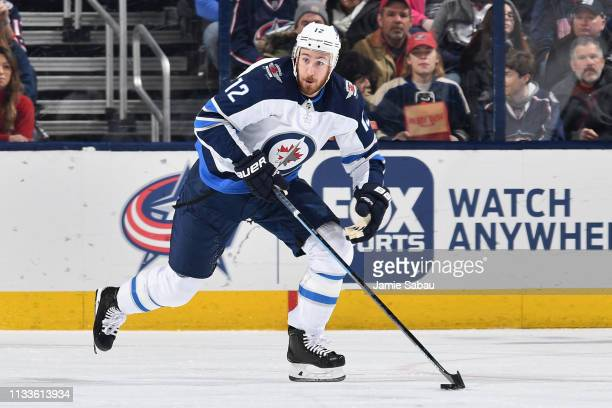 Kevin Hayes of the Winnipeg Jets skates against the Columbus Blue Jackets on March 3 2019 at Nationwide Arena in Columbus Ohio