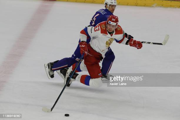 Kevin Hecquefeuille of France in action with Pavel Kraskovsky of Russia during the International Friendly match between France and Russia at Aren'ice...
